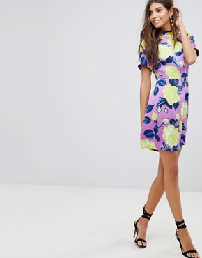 photo High Neck Bright Floral Mini Dress by ASOS ULTIMATE, color Multi - Image 1