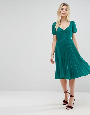 photo Pleated Midi Dress by ASOS, color Green - Image 1