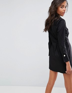 photo Shirt Dress with Pearl Buttons by ASOS, color Black - Image 2