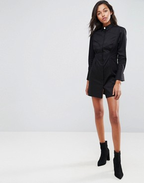 photo Shirt Dress with Pearl Buttons by ASOS, color Black - Image 4