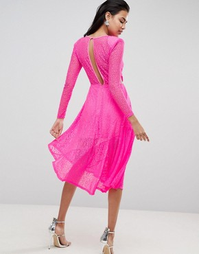 photo Neon Lace Asymmetric Hem Midi Dress by ASOS, color Neon Pink - Image 2