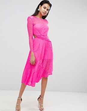 photo Neon Lace Asymmetric Hem Midi Dress by ASOS, color Neon Pink - Image 1