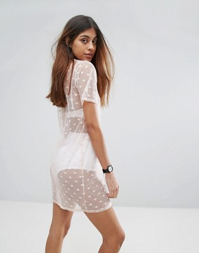 photo Polka Dot Mesh Dress by Daisy Street, color Beige - Image 2