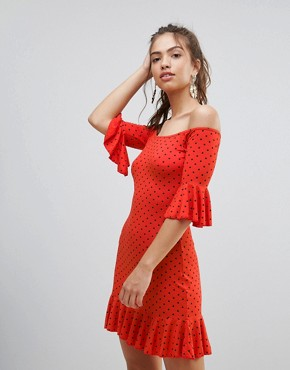 photo Polka Dot Off the Shoulder Dress with Frill Trim by Daisy Street, color Red - Image 1