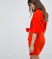 photo Fluted Sleeve Mini Dress with Belt by ASOS, color Red - Image 2
