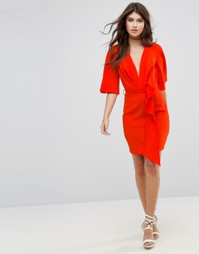 photo Fluted Sleeve Mini Dress with Belt by ASOS, color Red - Image 4