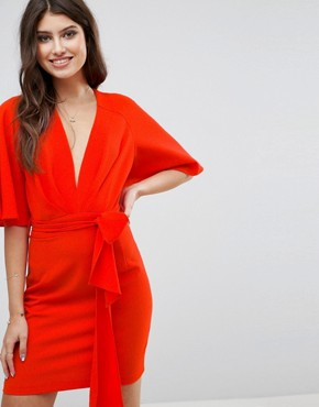 photo Fluted Sleeve Mini Dress with Belt by ASOS, color Red - Image 1