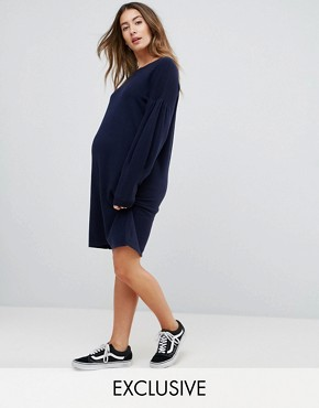 photo Knitted Jumper Dress with Volume Sleeves by ASOS Maternity, color Navy - Image 1