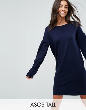 photo Knitted Jumper Dress with Volume Dress by ASOS TALL, color Navy - Image 1