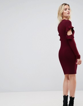 photo Knitted Dress with Ruffle Open Sleeve Detail by ASOS, color Purple - Image 2