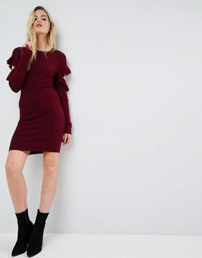 photo Knitted Dress with Ruffle Open Sleeve Detail by ASOS, color Purple - Image 1