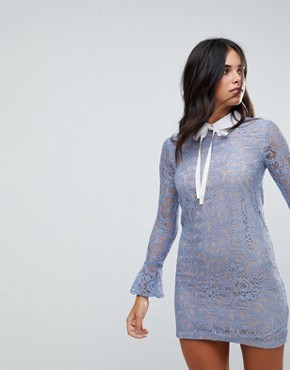 photo Long Sleeve Lace Dress with Collar and Tie by the English Factory, color Sky Blue - Image 1