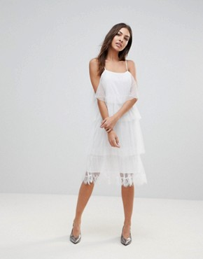 photo Sleeveless Mesh Layered Midi Dress by the English Factory, color White - Image 4