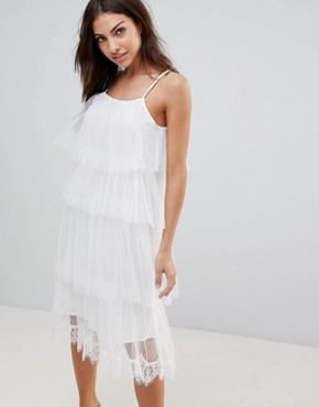 photo Sleeveless Mesh Layered Midi Dress by the English Factory, color White - Image 1