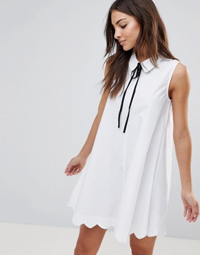 photo Poplin Collar Shift Dress by the English Factory, color White - Image 1