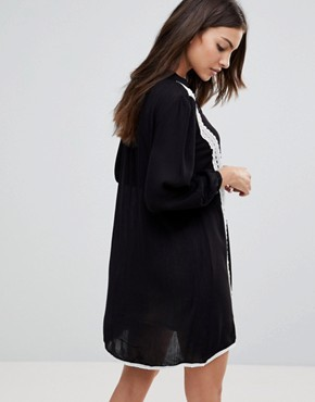 photo Long Sleeve Smock Dress with Lace Trim and Slip Dress by the English Factory, color Black - Image 2