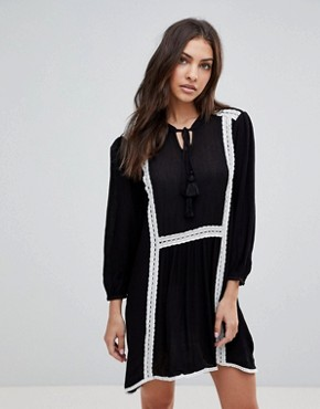 photo Long Sleeve Smock Dress with Lace Trim and Slip Dress by the English Factory, color Black - Image 1