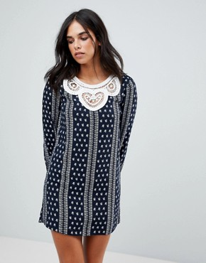 photo Long Sleeve Dress with Crochet Trim by the English Factory, color Dark Navy - Image 1