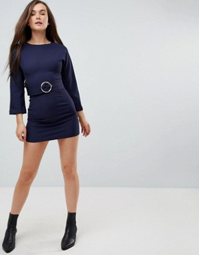 photo Dress with Waistbelt by the English Factory, color Dark Navy - Image 4