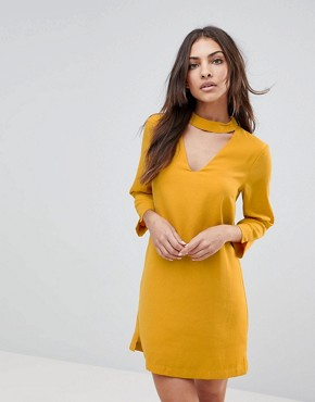 photo Choker Neck Long Sleeve Dress by the English Factory, color Sunrose - Image 1