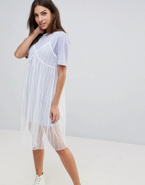 photo Mesh Slip Dress with T-Shirt by the English Factory, color Pale Lavender/White - Image 1