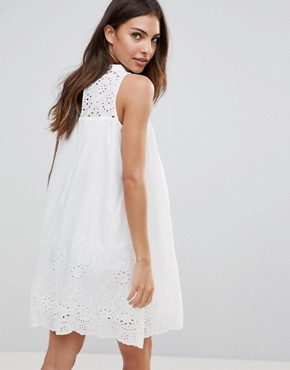 photo Crochet Bib Shift Dress by the English Factory, color Off White - Image 2