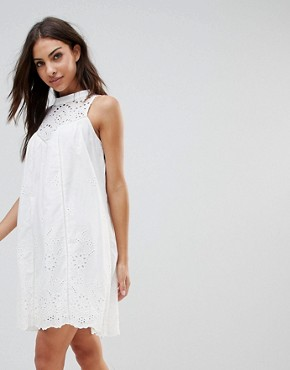 photo Crochet Bib Shift Dress by the English Factory, color Off White - Image 1