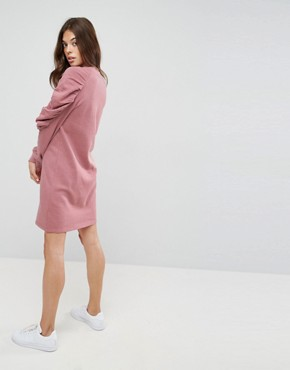 photo Sweat Dress with Ruched Arms by ASOS, color Mink - Image 2