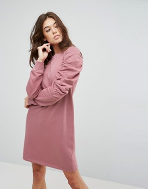 photo Sweat Dress with Ruched Arms by ASOS, color Mink - Image 1
