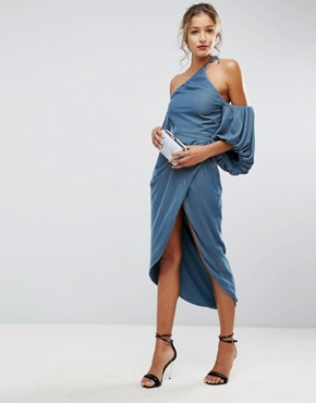 photo One Shoulder Velvet Drape Midi Dress by ASOS, color Dusky Blue - Image 1