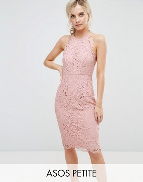 photo Scallop Pinny Lace Pencil Midi Dress by ASOS PETITE, color Nude - Image 1
