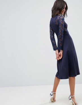 photo Midi Scuba Skater Dress with Lace Sleeves by ASOS PREMIUM, color Navy - Image 2