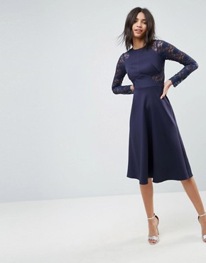 photo Midi Scuba Skater Dress with Lace Sleeves by ASOS PREMIUM, color Navy - Image 1