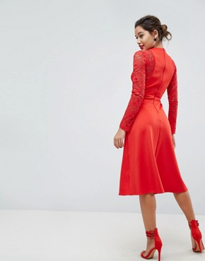 photo Midi Scuba Skater Dress with Lace Sleeves by ASOS PREMIUM, color Red - Image 2