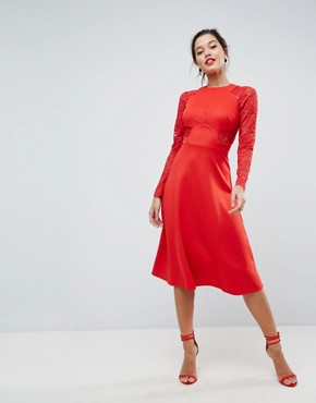 photo Midi Scuba Skater Dress with Lace Sleeves by ASOS PREMIUM, color Red - Image 1