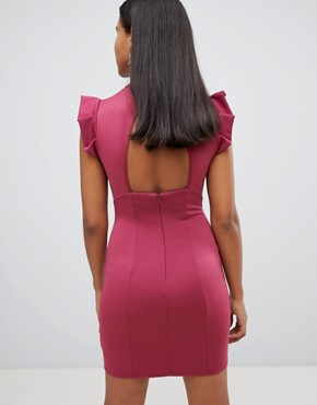 photo Mini High Neck Pencil Dress with Cut Out Back and Shoulder Detail by ASOS, color Wine - Image 2