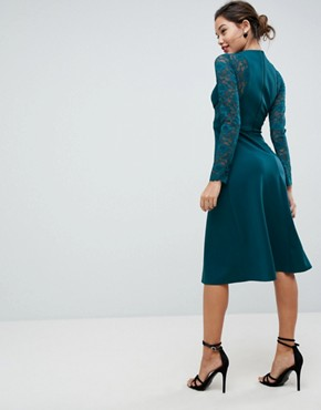 photo Midi Scuba Skater Dress with Lace Sleeves by ASOS PREMIUM, color Forest Green - Image 2