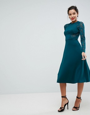 photo Midi Scuba Skater Dress with Lace Sleeves by ASOS PREMIUM, color Forest Green - Image 1