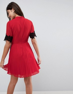 photo Lace Waist and Cuff Pleated Mini Dress by ASOS, color Red - Image 2