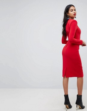 photo Shoulder Pad Midi Dress with Seams by ASOS, color Red - Image 2