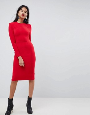photo Shoulder Pad Midi Dress with Seams by ASOS, color Red - Image 1