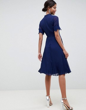 photo Lace Waist and Cuff Pleated Midi Dress by ASOS, color Navy - Image 2