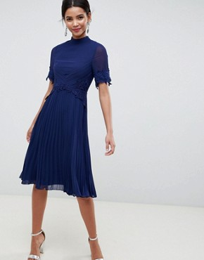 photo Lace Waist and Cuff Pleated Midi Dress by ASOS, color Navy - Image 1