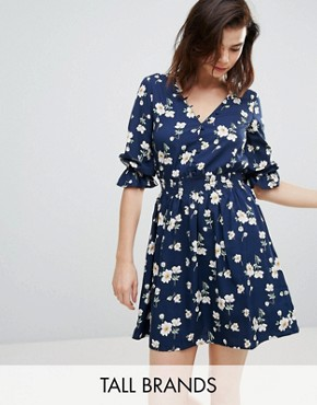photo V-Neck Floral Tea Dress with Gathered Sleeve by Influence Tall, color Blue Floral - Image 1