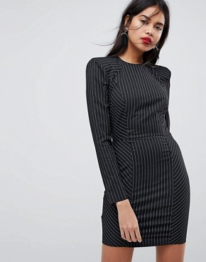 photo Shoulder Pad Mini Dress in Stripe with Seams by ASOS, color Multi - Image 1