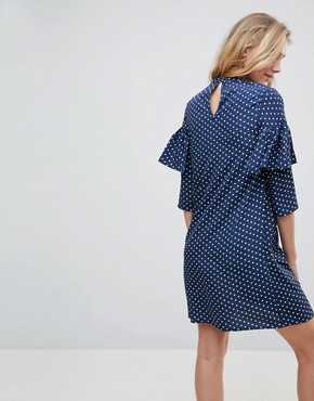 photo Polka Dot Shift Dress with Ruffle Front by Influence Tall, color Navy - Image 2