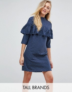 photo Polka Dot Shift Dress with Ruffle Front by Influence Tall, color Navy - Image 1