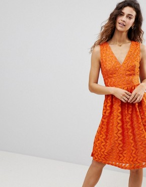 photo Lace Midi Dress by Uttam Boutique, color Rust - Image 1