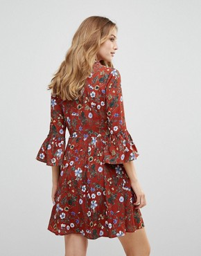photo Floral Skater Dress with Button Front by Uttam Boutique, color Burgundy - Image 2
