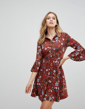photo Floral Skater Dress with Button Front by Uttam Boutique, color Burgundy - Image 1